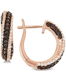 Cubic Zirconia Diagonal Small Hoop Earrings  s in 14k Rose Gold-Plated Sterling Silver