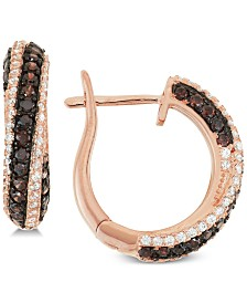 Tiara Cubic Zirconia Diagonal Hoop Earrings in 14k Rose Gold-Plated Sterling Silver
