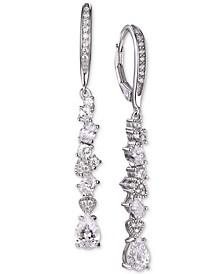 Cubic Zirconia Cluster Drop Earrings in Sterling Silver