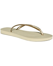 Women's Slim Metallic Flip Flops