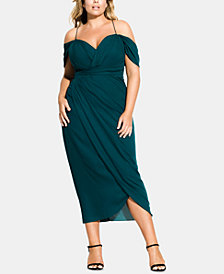 City Chic Trendy Plus Size Off-The-Shoulder Tulip-Hem Midi Dress