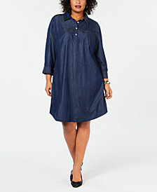 Karen Scott Plus Size Cotton Chambray Shirtdress, Created for Macy's