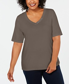 Karen Scott Plus Size Cotton V-Neck Top, Created for Macy's