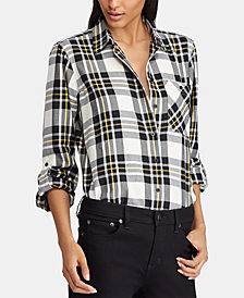 Lauren Ralph Lauren Petite Plaid Twill Cotton Shirt