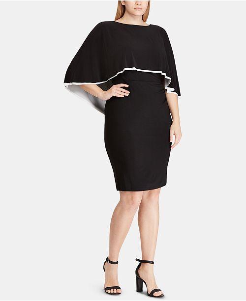 Lauren Ralph Lauren Plus Size Jersey Cape Dress ...