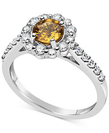 Yellow Sapphire (1 ct. t.w.) & Diamond (1/2 ct. t.w.) Ring in 14K White Gold