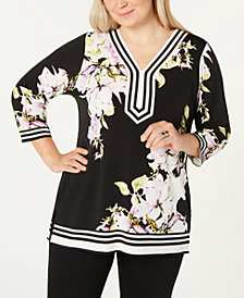 JM Collection Plus Size Embellished Printed Tunic Top, Created for Macy's