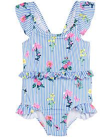 Penelope Mack Toddler Girls 1-Pc. Floral-Print Striped Swimsuit