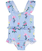 dabe80a9ae72b Penelope Mack Little Girls 1-Pc. Floral-Print Striped Swimsuit