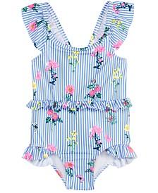 Penelope Mack Little Girls 1-Pc. Floral-Print Striped Swimsuit