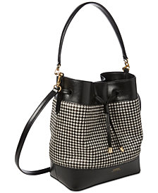 Lauren Ralph Lauren Houndstooth Calf Hair Debby II Drawstring Bag