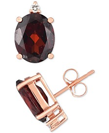 Garnet (5 ct. t.w.) & Diamond Accent Stud Earrings in 14k Rose Gold