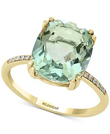 EFFY Green Quartz (4 1/3 ct. t.w.) & Diamond Accent Ring in 14k Yellow Gold