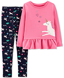 Carter's Little & Big Girls 2-Pc. Unicorn Top & Leggings Set