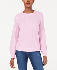 NY Collection Petite Faux-Pearl Sweater