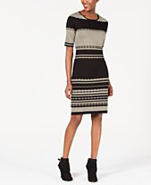 80fd1245af90 NY Collection Petite Striped Sweater Dress