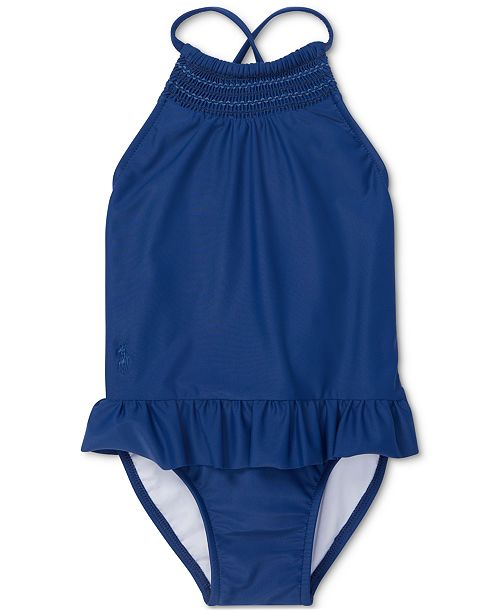 883dc0f0dca99 Polo Ralph Lauren Baby Girls Smocked One-Piece Swimsuit & Reviews ...