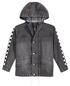 Big Boys Checkered-Trim Hooded Denim Jacket