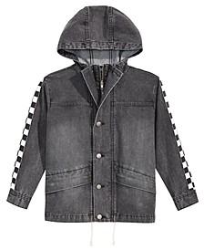 Big Boys Checkered-Trim Hooded Denim Jacket