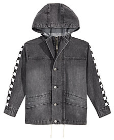 Jaywalker Big Boys Checkered-Trim Hooded Denim Jacket