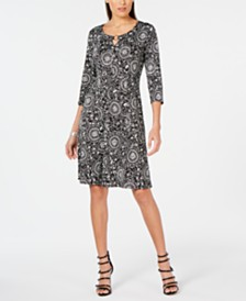 NY Collection Petite Printed Keyhole Dress