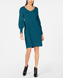 NY Collection Petite Lantern-Sleeve Sweater Dress