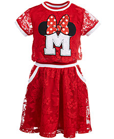 Disney Little Girls Minnie Mouse Lace Collegiate Dress