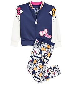 Hello Kitty Toddler & Little Girls Colorblocked Jacket & Printed Jogger Pants