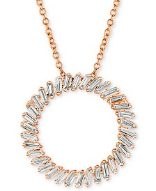 "Le Vian Baguette Frenzy™ Vanilla® Diamond Circle 20"" Pendant Necklace (5/8 ct. t.w.) in 14k Rose Gold"