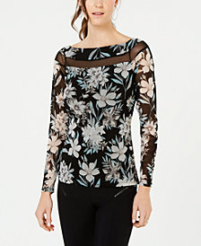 I.N.C. Illusion-Detail Floral Top, Created for Macy's