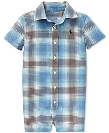 Polo Ralph Lauren Baby Boys Plaid Cotton Twill Shortall