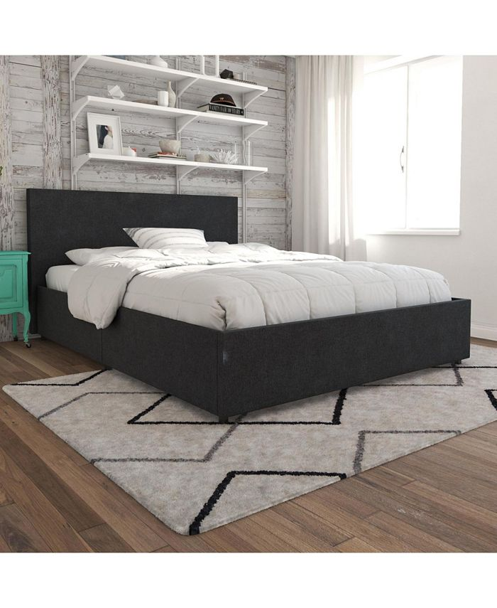 Novogratz Collection - Kelly Upholstered Bed with Storage in Dark Gray Linen