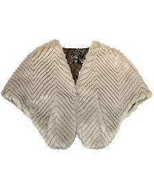 Laundry by Shelli Segal Herringbone Faux Fur Stole With Pockets