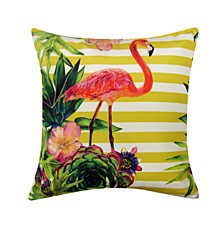 Flamingo Embroidered Printed Outdoor Pillow