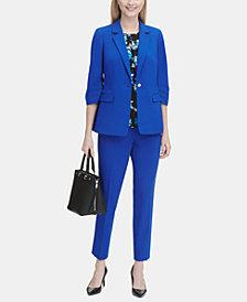 Calvin Klein Petite Scrunch-Sleeve Blazer