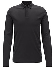 BOSS Men's Slim Fit Silk-Trim Long-Sleeve Polo