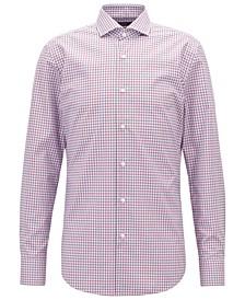 BOSS Men's Easy-Iron Vichy-Check Cotton Shirt