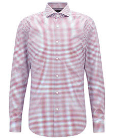BOSS Men's Easy-Iron Vichy-Check Cotton Shirt