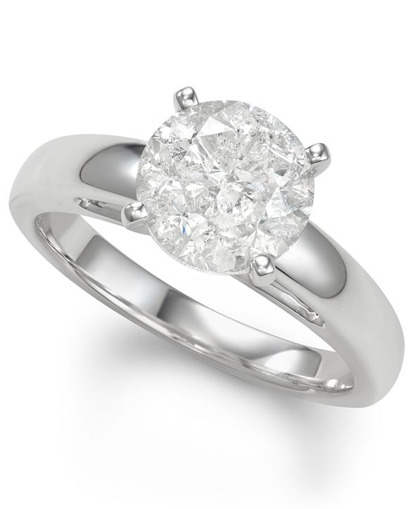 Macy's Diamond Solitaire Engagement Ring (3 ct. t.w.) in 14k White Gold