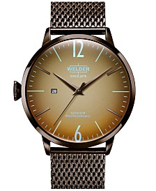 WELDER Men's Brown Stainless Steel Mesh Bracelet Watch 45mm