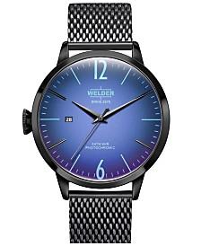 WELDER Men's Black Stainless Steel Mesh Bracelet Watch 42mm