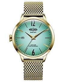 WELDER Women's Gold-Tone Stainless Steel Mesh Bracelet Watch 38mm