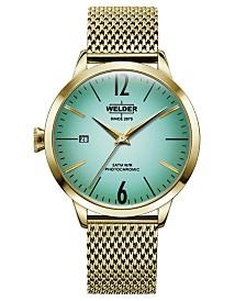 WELDER Women's Gold-Tone Stainless Steel Mesh Bracelet Watch 38mm
