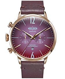 WELDER Men's Burgundy Leather Strap Watch 45mm