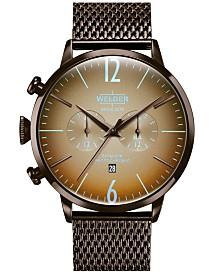 WELDER Men's Brown Stainless Steel Mesh Bracelet Watch 45mm