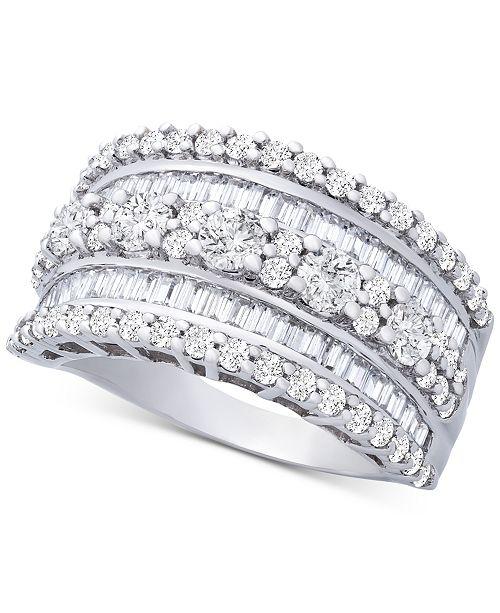 Macy's Diamond Multi-Row Statement Ring (2 ct. t.w.) in 14k White Gold