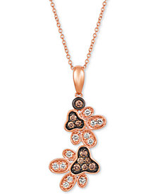 """Le Vian® Nude™ & Chocolate® Diamond Paw Prints 20"""" Pendant Necklace (1/2 ct. t.w.) in 14k Rose Gold"""