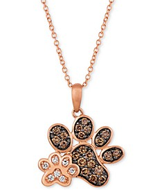 "Nude™ & Chocolate® Diamond Paw Prints 20"" Pendant Necklace (3/8 ct. t.w.) in 14k Rose Gold"