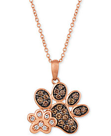 """Le Vian® Nude™ & Chocolate® Diamond Paw Prints 20"""" Pendant Necklace (3/8 ct. t.w.) in 14k Rose Gold"""
