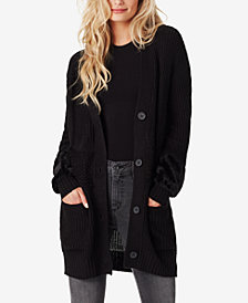 Jessica Simpson Juniors' Jennifer Mixed-Knit Faux-Fur Cardigan